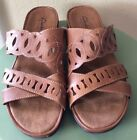 Womens Clark Bendable Tan Leather Slip On Sandals Size 9 M