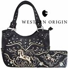 Western Cowgirl Horse Laser Cut Country Tooled Leather Handbags Wallet Set Black