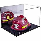 Deluxe Fireman's Helmet Large Display Case Mirrored with Black Base (A014-MDS)