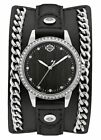 Harley-Davidson Womens B&S Crystal Bezel Chain with Leather Cuff Watch