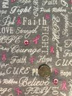 Cotton Flannel Fabric BTHY BTY Pink Breast Cancer Awareness Ribbon And Hope