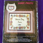 Sandi Phipps Baby Birth Announcement Counted Cross Stitch Kit with Charms Bib