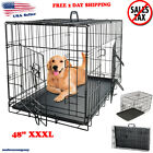 Extra Large Dog Kennel Crate 48 Folding Pet Cage 2 Doors Metal Tray Pan XL XXL