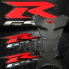 Chrome Carbon Look Fuel Tank Pad+Red&Silver 3D Suzuki GSXR Logo Emblem Sticker