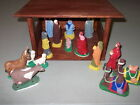 Vintage 60s 70s 16 Piece CHALKWARE NATIVITY Set  WOOD MANGER Homemade in USA