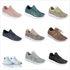 Brand New Womens Glitter Lace Up Flat Athletic Fashion Sneaker Running Shoes