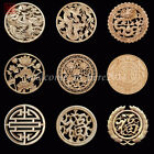 Wood Carved Round Onlay Applique Sticker Wall Decor Furniture Craft Many Size