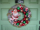 VINTAGE CHRISTMAS ORNAMENT and DANCING FLOCKED SANTA WREATH 14in