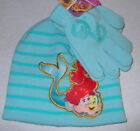 Girls Disney Princess Beanie Winter Hat Glove Set Little Mermaid Ariel Green New