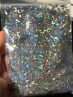 Holographic silver Mylar Sheet Random Cut Size Flakes for nail decoration USA