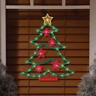 Lighted Tree Window Decor Christmas Outdoor Hang Holiday Party Santa Green LED