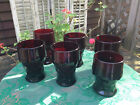 6 VINTAGE GEORGIAN HONEYCOMB RUBY RED CRANBERRY GLASS TUMBLERS VIKING ANCHOR H