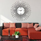 US Luxury Iron Art Metal Living Room Round Diamond Wall Clock Silver Home Décor