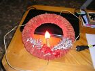 Vintage Bottle Brush paper red swirl bulb candle light Christmas Wreath 12