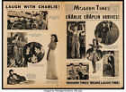 Movie Promo Modern Times 1936 4 pages 11x16 VF 75 Charlie Chaplin