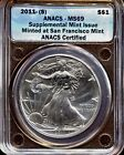 2011 S American Silver Eagle Supplemental Mint Issue ANACS MS 69 1195