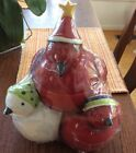 Oneida Frosty Feathers Ceramic Christmas Cookie Jar! Collectible!