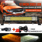 22Inch 990W Dual Color TRI Rows LED Work Light Bar Amber White Strobe Fog 23 24