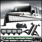 For Jeep Wrangler JK 52INCH 700W LED Work Light Bar +4x Pods Cube +Mount Bracket
