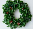Vintage Plastic Christmas Wreath Hanging Decoration Holly Berry Hong Kong W1
