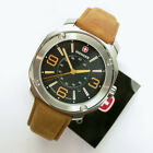 NEW $165 GENTS WENGER 43MM TAN & BLACK DIAL SS 100M WR ESCORT WATCH #1051.102