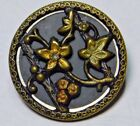 ANTIQUE Tinted BRASS Victorian FLOWER Button 10 HAND Painted