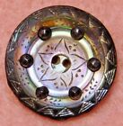 Small ANTIQUE Button Carved PEARL Shell with CUT Steels 3 4
