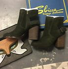 Sbicca Forest Green Boots Lorenza Size 7 Brand New Suede Cute Booties