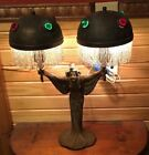 Antique Art Nouveau Bronze Finish Lady Lamp With Jeweled Shades French Style