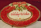 Fitz & Floyd Damask Holiday Embossed Sentiment Tray Holiday Wishes