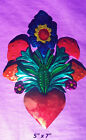 Heart and Flowers Mexican Handmade Painted Tin Milagro Style Art 5x7