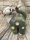 WHIMSICLAY AMY LACOMBE GREEN FLOWERS FLORAL CAT PLUSH STUFFED TOY Rosette
