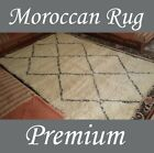 Vintage Beni Ourain Tribal Carpet Moroccan Rug Ivory Wool Checked 9' 8 X 6' 5 Ft