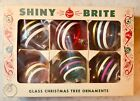 Vintage WWII Era BOX OF 6 SHINY BRITE Christmas Ornament Clear Glass Striped USA