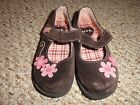 GIRLS BROWN  PINK FLORAL SUEDE MARY JANE STYLE VELCRO SHOES SIZE 8 BY CIRCO