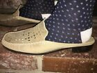 Authentic Pre-owned Sesto Meucci Women's Beige Sheen Leather Slip On Mules 8M