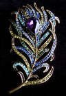Stylized Peacock Feather Pin Brooch Purple Green Turquoise Blue Gold Beauty USA