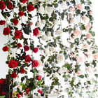 US 6ft Fake Silk Rose Flower Artificial Ivy Vines Garland Wall Home Floral Decor