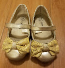 Gold Dress Shoes Toddler Size 7 Cherokee MaryJanes Sparkly Shimmer