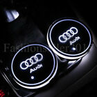 2PCS for Audi LED Car Cup Holder Pad Mat Auto Interior Atmosphere Lights White