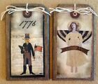 5 WOOD Americana Hang Tags/Vintage Patriotic Ornaments/PRiM USA Ornies SET4s
