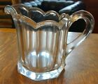 Vintage Octagonal Sided Scalloped Edge Heavy Glass Cream Pitcher