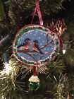 Hand Painted Wood Slice Christmas Ornament Bluebird Glitter Snow Decor