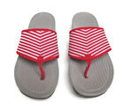 Baretraps Red White Stripe Flip Flops Dasie 85M Textile Fabric Wedge Thongs