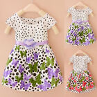 Kids Infant Girls Bow Knot Party Floral Dress Butterfly Cotton Skirt Beach Dress