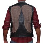 Daryl Dixon Angel Wings Vintage Real Leather Vest The Walking Dead Governor