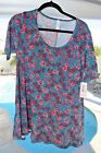 LuLaRoe NEW Perfect T Small Teal Pink Multi Floral FREE SHIP NWT