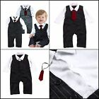 NEWVBaby Boy Formal Party Wedding Tuxedo Waistcoat Outfit Suit 12 18months Black