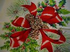 VINTAGE WILENDUR CHRISTMAS TABLECLOTH Pine Cones Bows Holly Yardage 54x70