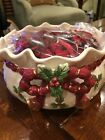 Fitz and Floyd Deck the Halls Holiday Decorative Ceramic Bowl and Potpourri